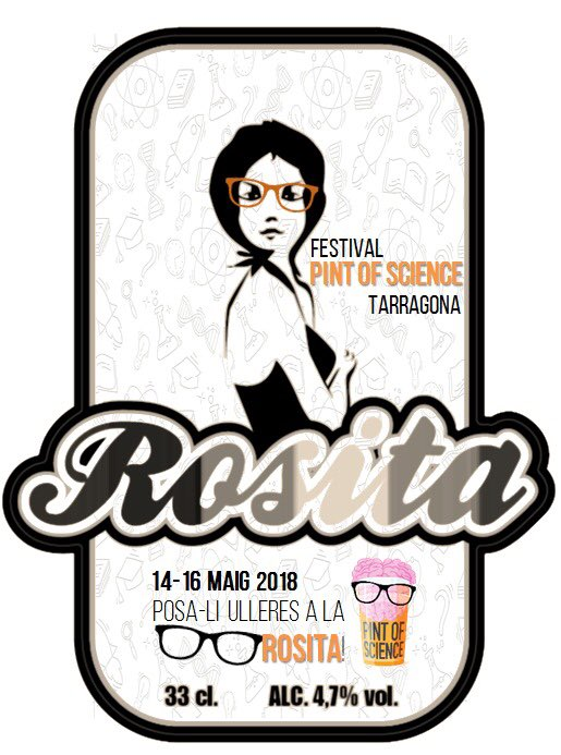 Etiqueta cerveza Rosita edición especial Pint of science